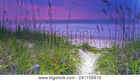 Path Over Sand Dunes In Amelia Island, Florida