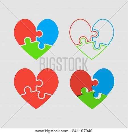 Couple Hearts Puzzle, Love Relationship Friendship. Icon Vector Puzzle Illustration. Jigsaw Puzzle L