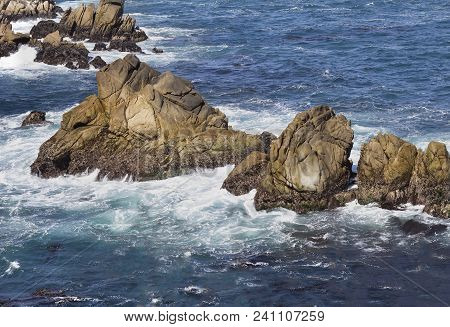 Rocks In Pacific Ocean.point Lobos State Reserve, Ca, Usa.