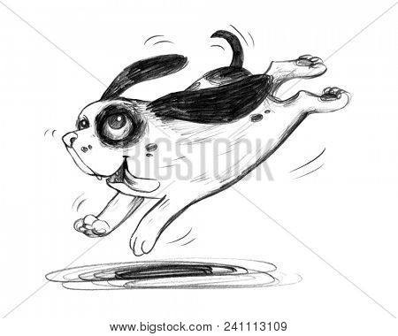 Cute cartoon dog puppy happily jumps around for joy