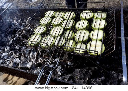 Cooking Vegetables On The Grill On The Grill, Zucchini Fried On The Grill