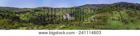 Panorama Of The Place Of Tustan Fortress - A Medieval Cliff-side Fortress-city, Archaeological And N