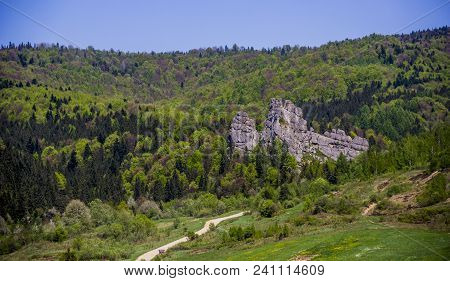 Aerial View Of The Place Of Tustan Fortress - A Medieval Cliff-side Fortress-city, Archaeological An