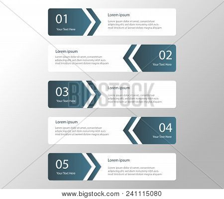 Arrow Design Elements For Business Oblue Color Infographics. Vector Template With 5 Steps