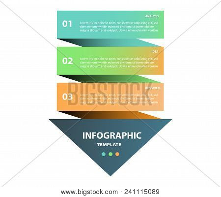 Arrow Design Elements For Business Multicolor Infographics. Vector Template With 3 Steps