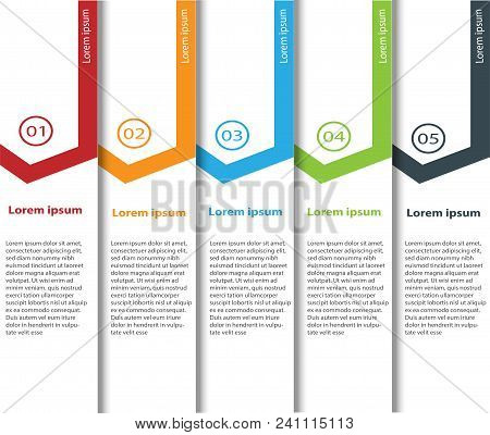 Arrow Design Elements For Business Multicolor Infographics. Vector Template With 5 Steps