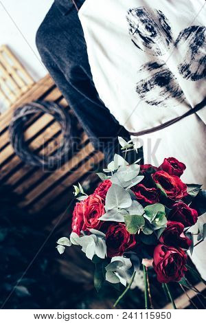 Red Rose In Brides Flower Bouquet Fow Wedding Made By Florist