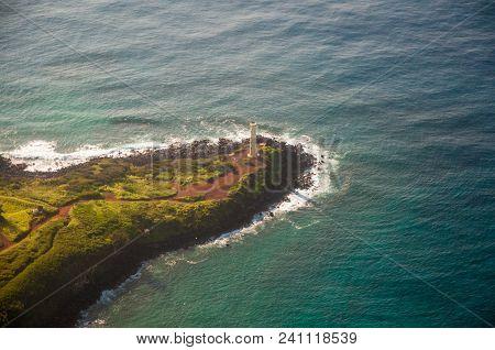 Kilauea Light Located On Kilauea Point On Island Of Kauai, Hawaii Is On A Peninsula Surrounded By Pa