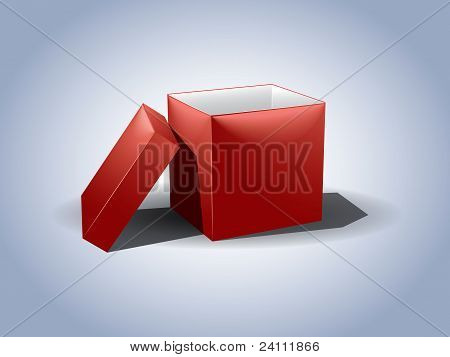 Empty Red Gift Box With The Lid Off