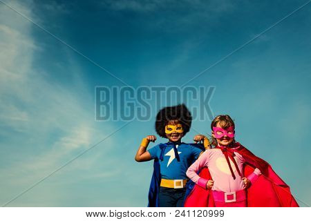 Strong superhero kids with superpowers
