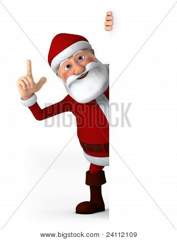 Santa Behind Blank Sign