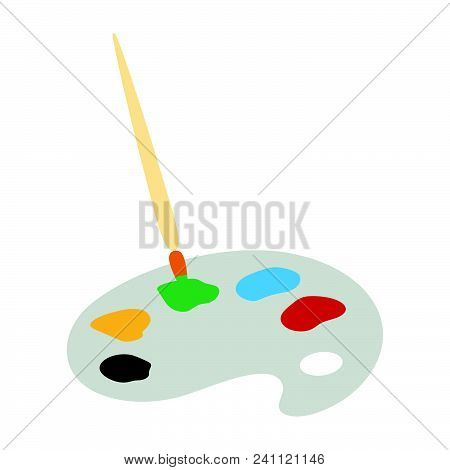 School Palette With Brush Icon. Flat Color Design. Vector Illustration.