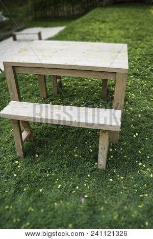 Wooden Bench In Outdoors Garden In Summer, Stock Photo
