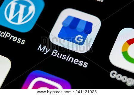 Sankt-petersburg, Russia, May 10, 2018: Google My Business Application Icon On Apple Iphone X Screen
