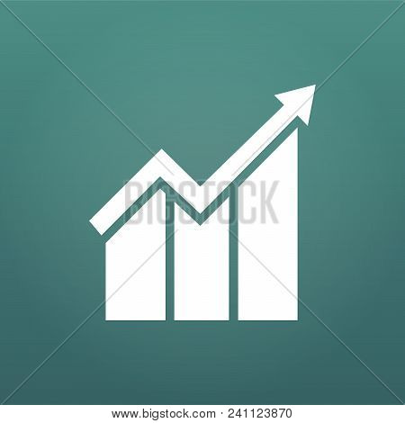 Graph Icon In Trendy Flat Style Isolated On Modern Background. Chart Bar Symbol For Web Site Design,