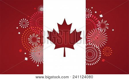 Maple Leaf With Firework Poster For Celebrate The National Day Of Canada. Happy Canada Day Card. Can