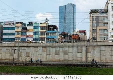 Hanoi Buildings With River On Clear Day In Cau Giay District