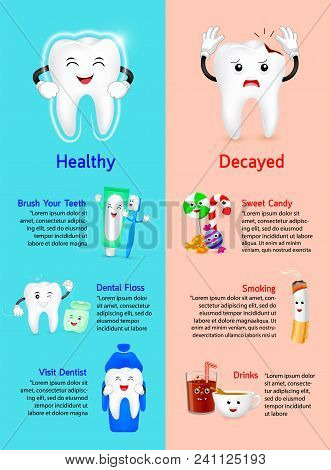 Healthy Tooth With Decayed Tooth Info-graphics. Comparison Between How To Get Good Dental Health And