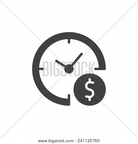 Time Is Money Vector Icon. Filled Flat Sign For Mobile Concept And Web Design. Clock And Dollar Simp