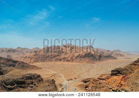 Aerial View Fof Desolate Desert Near Yazd. Persia, Iran.
