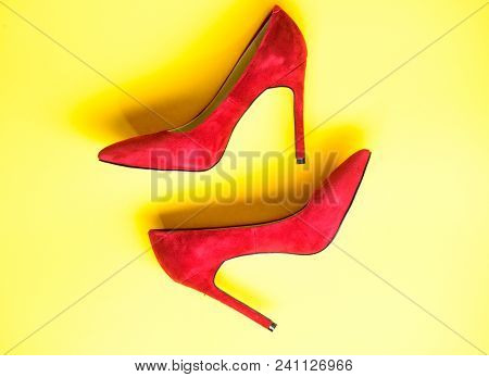Feminine Shoes Concept. Footwear With Thin High Heels, Stiletto Shoes, Top View. Shoes Made Out Of R