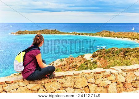 Girl At Punta Coda Cavallo Seen From San Teodoro, Mediterranean Sea, Olbia-tempio Province, Sardinia
