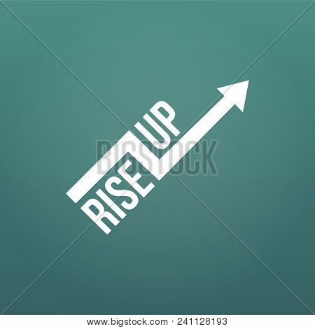 White Arrow With Rise Up Sign. Financial Sign, Rising Trend. Vector Illustration Isolated On Modern