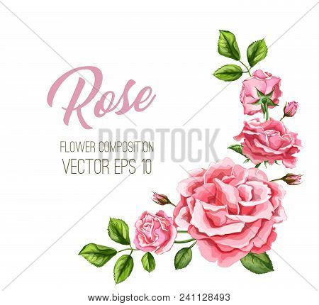 Vector Realistic Rose Flower Leaves Decorated Vintage Marriage Card Template With Elegant Watercolor