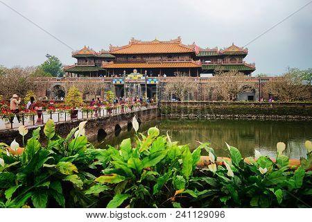 Hue, Vietnam - February 19, 2016: Emperial City Kinh Thanh In Hue, Vietnam