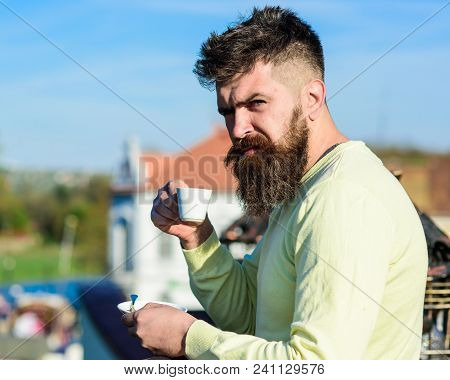 Bearded Man With Espresso Mug, Drinks Coffee. Man With Beard And Mustache On Strict Face Drinks Coff