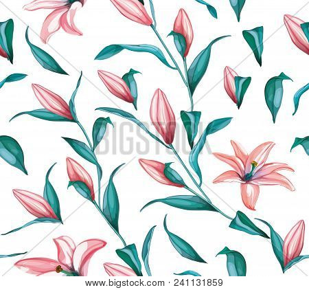 Realistic Pink Lily Flower Blossoms, Leaves And Stem Seamless Pattern. Floral Elements With Open Blo
