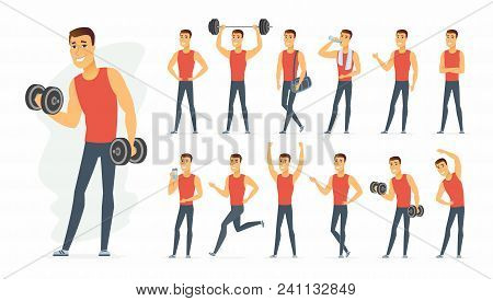 Sportsman - Vector Cartoon People Character Set Isolated On White Background. A Cute Boy In Differen