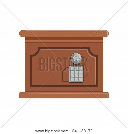 Retro Brown Safe Box With A Keypad Buttons Panel, Safety Box, Cash Secure Protection Concept Vector