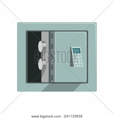 Grey Metal Armored Opened Safe Box, Safety Business Box Cash Secure Protection Concept Vector Illust
