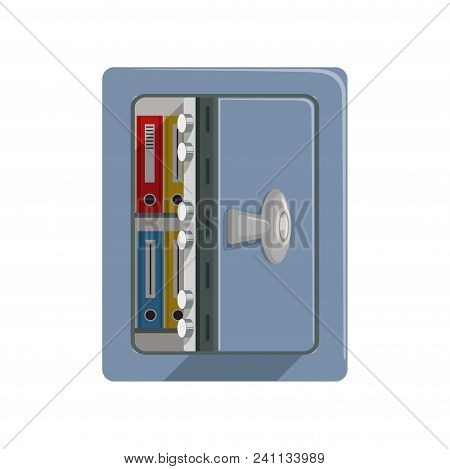 Opened Metal Armored Safe Box, Safety Business Box Cash Secure Protection Concept Vector Illustratio