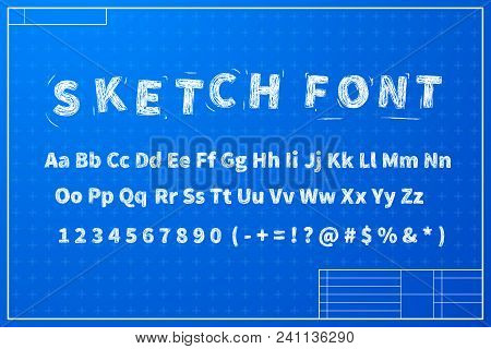 White Sketch Font On Blueprint Layout Plan With Marks