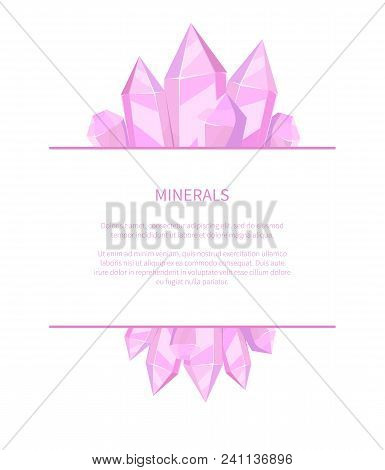 Minerals Natural Resources Poster With Precious Stones Promo Banner With Solid Inorganic Substance O
