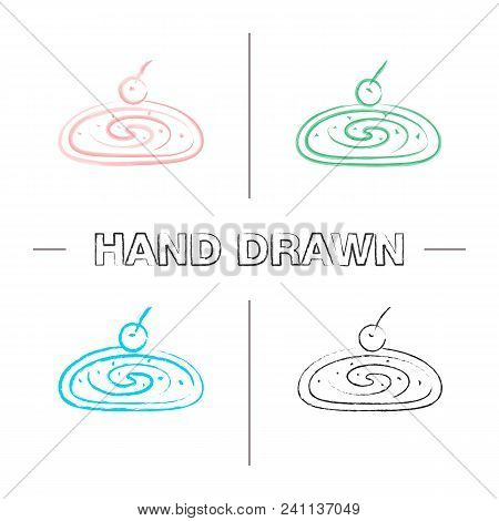 Cherry Strudel Hand Drawn Icons Set. Color Brush Stroke. Swiss Roll With Jam. Isolated Vector Sketch
