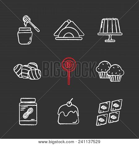 Confectionery Chalk Icons Set. Honey Jar, Jelly Pudding, Table Napkins, Marshmallow, Lollipop, Cupca