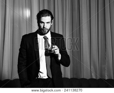 Bearded Man, Businessman, Long Beard, Brutal Caucasian Hipster With Moustache With Glass Of Whiskey