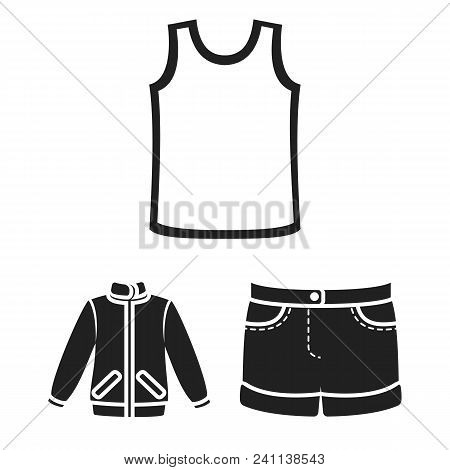 Different Kinds Of Clothes Black Icons In Set Collection For Design. Clothes And Style Vector Symbol