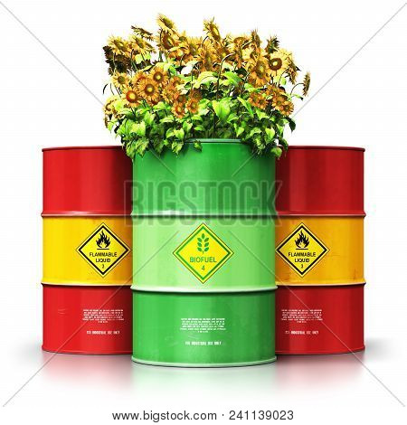 3d Render Illustration Of Green Biofuel Or Biodiesel Barrel With Yellow Sunflowers Flowers In Front