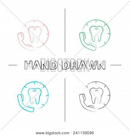Making Appointment With Dentist Hand Drawn Icons Set. Calling To Dental Clinic. Color Brush Stroke.