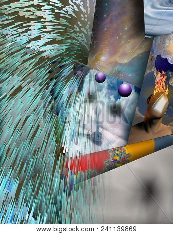 Time Clock Hands Surreal Abstract. 3D rendering