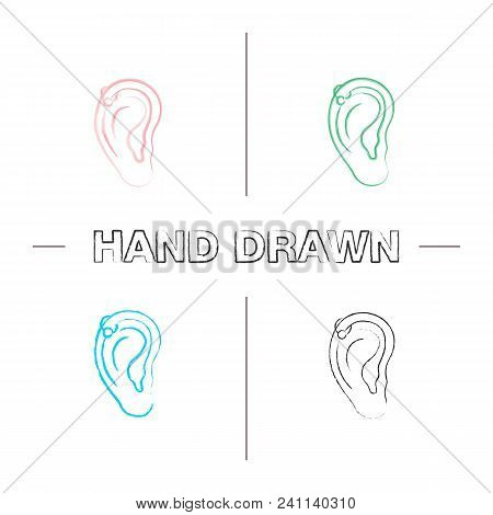 Helix Piercing Hoop Hand Drawn Icons Set. Pierced Ear Cartilage. Color Brush Stroke. Isolated Vector