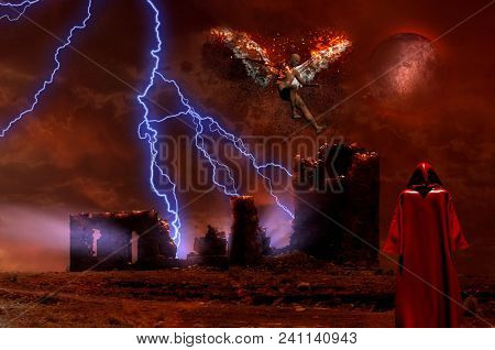 Surreal digital art. Lightning strikes spooky ruins. Figure of man in red cloak. Naked man with burning wings symbolizes fallen angel. 3D rendering