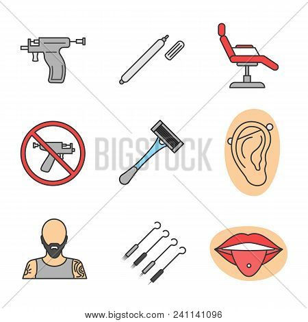 Tattoo Studio Color Icons Set. Piercing Service. Highlighter, Tattoo Chair, Piercing Gun Prohibition