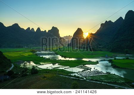 Vietnam Landscape With Rice Field, River, Mountain And Low Clouds In Early Morning In Trung Khanh, C