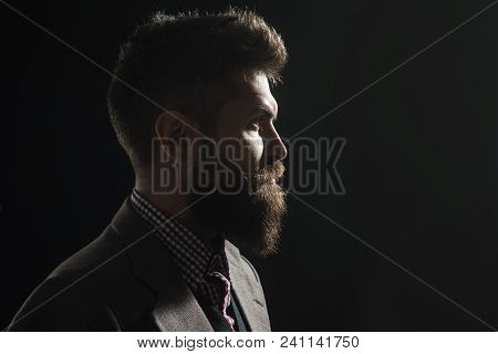 Silhouette Of Bearded Man. Hipster Profile Portrait. Silhouette Of Handsome Vintage Man With Bushy B