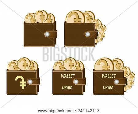 Set Of Brown  Wallets With Dram Coins On A White Background , Currency In The Wallet,sign And Symbol